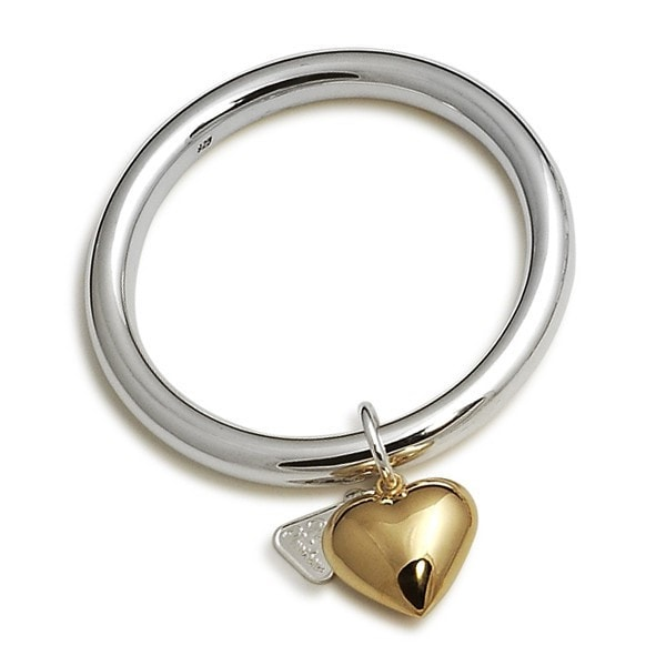 Von Treskow Gold Heart On Silver Bangle