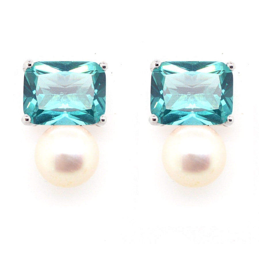 Sybella green stone and pearl stud