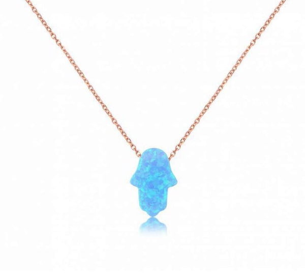 Duo Silver Hamsa Opalite Necklace