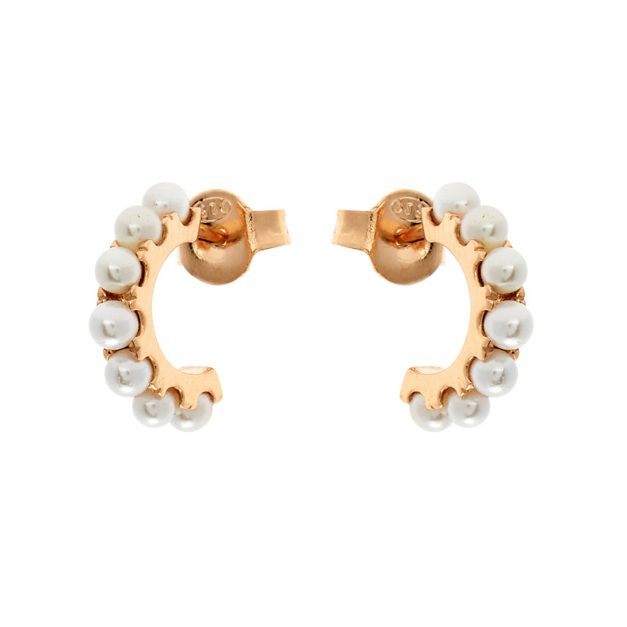 DUO XSMALL PEARL HOOPS