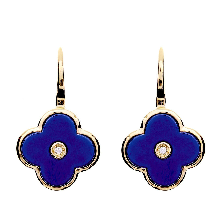 Sybella blue ceramic flower earrings