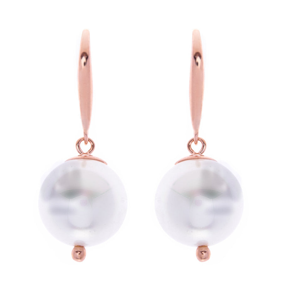 Sybella white pearl rose hook earrings
