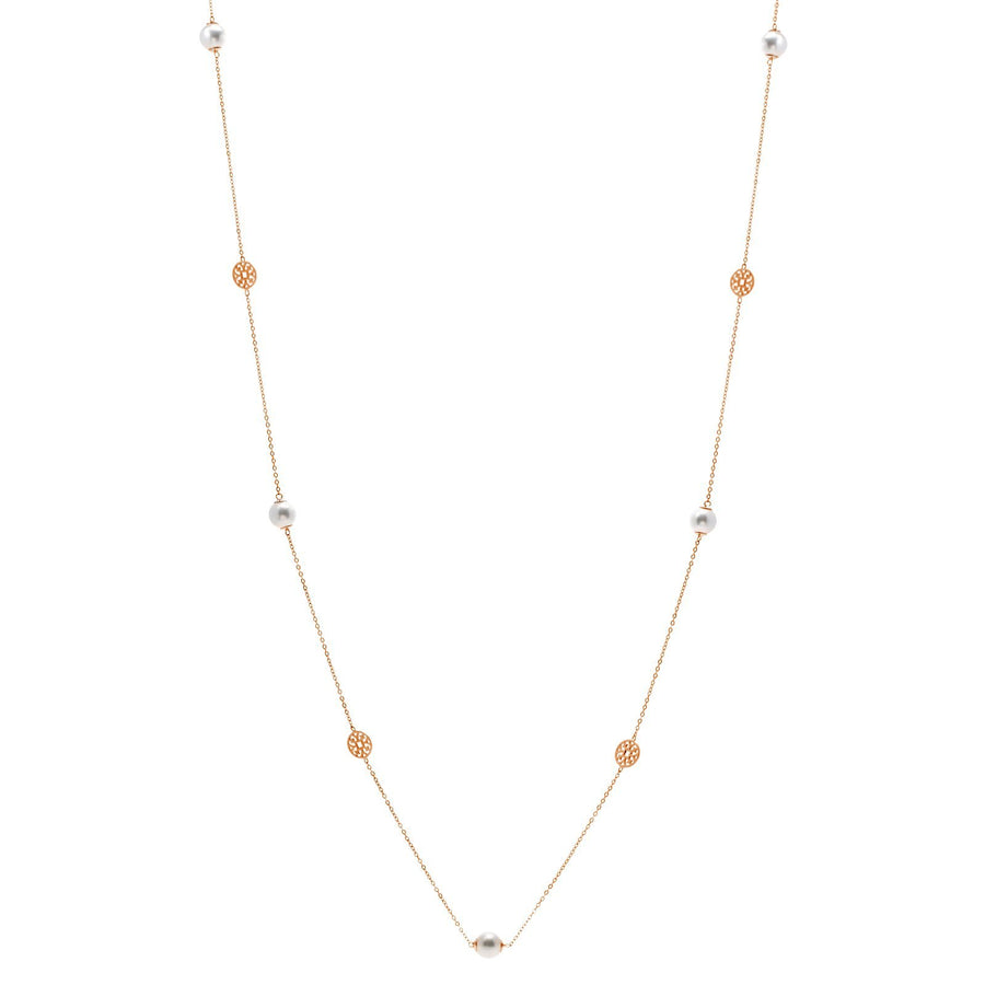 Sybella long pearl and rose disc necklace