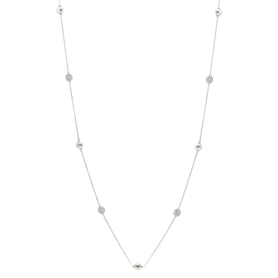 Sybella long  pearl and disc necklace