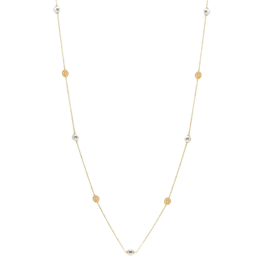 Sybella long  pearl and gold disc necklace