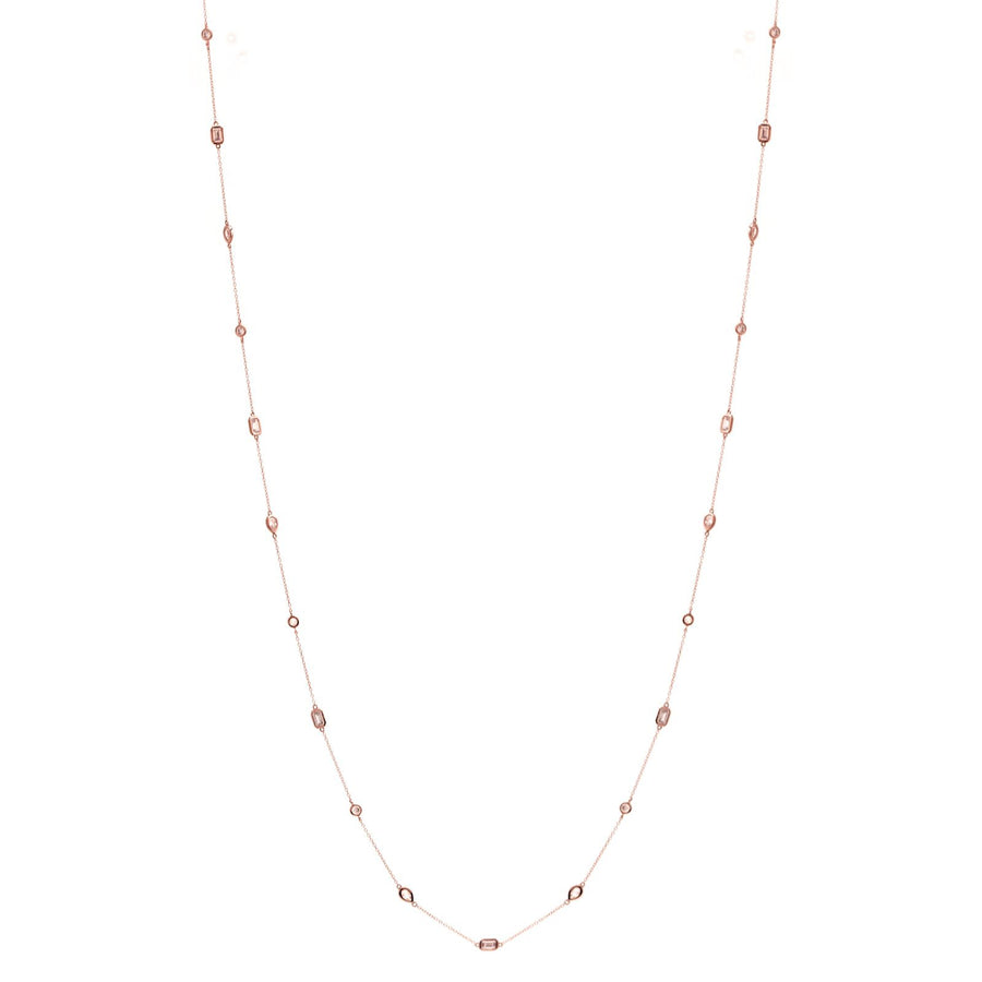 Sybella long Multi shape rose necklace