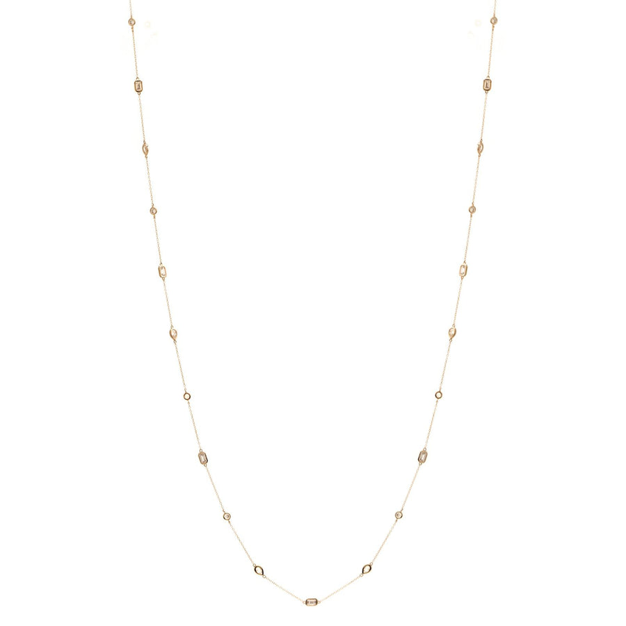 Sybella long Multi shape gold necklace