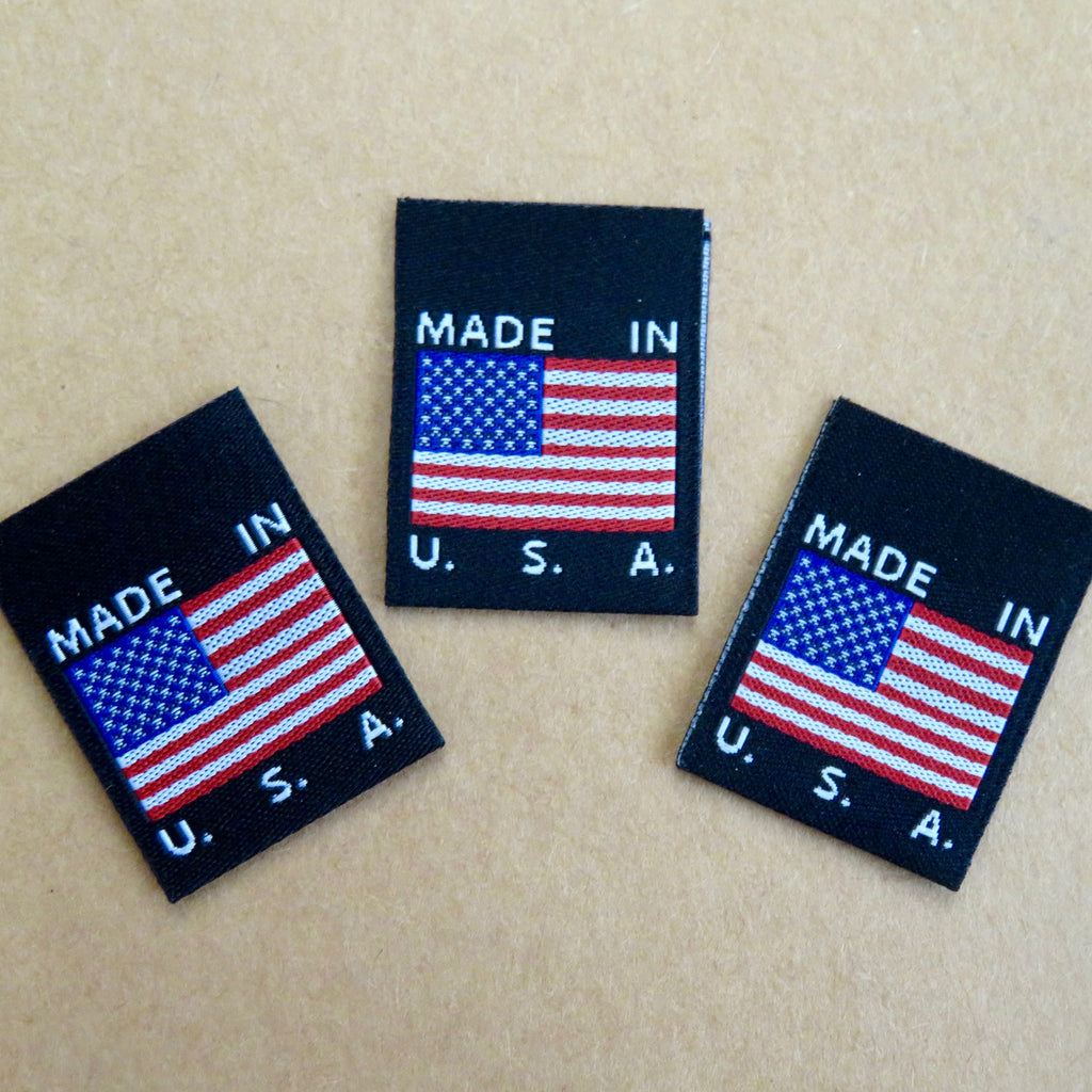 MADE IN USA FLAG Clothing Labels (Black)