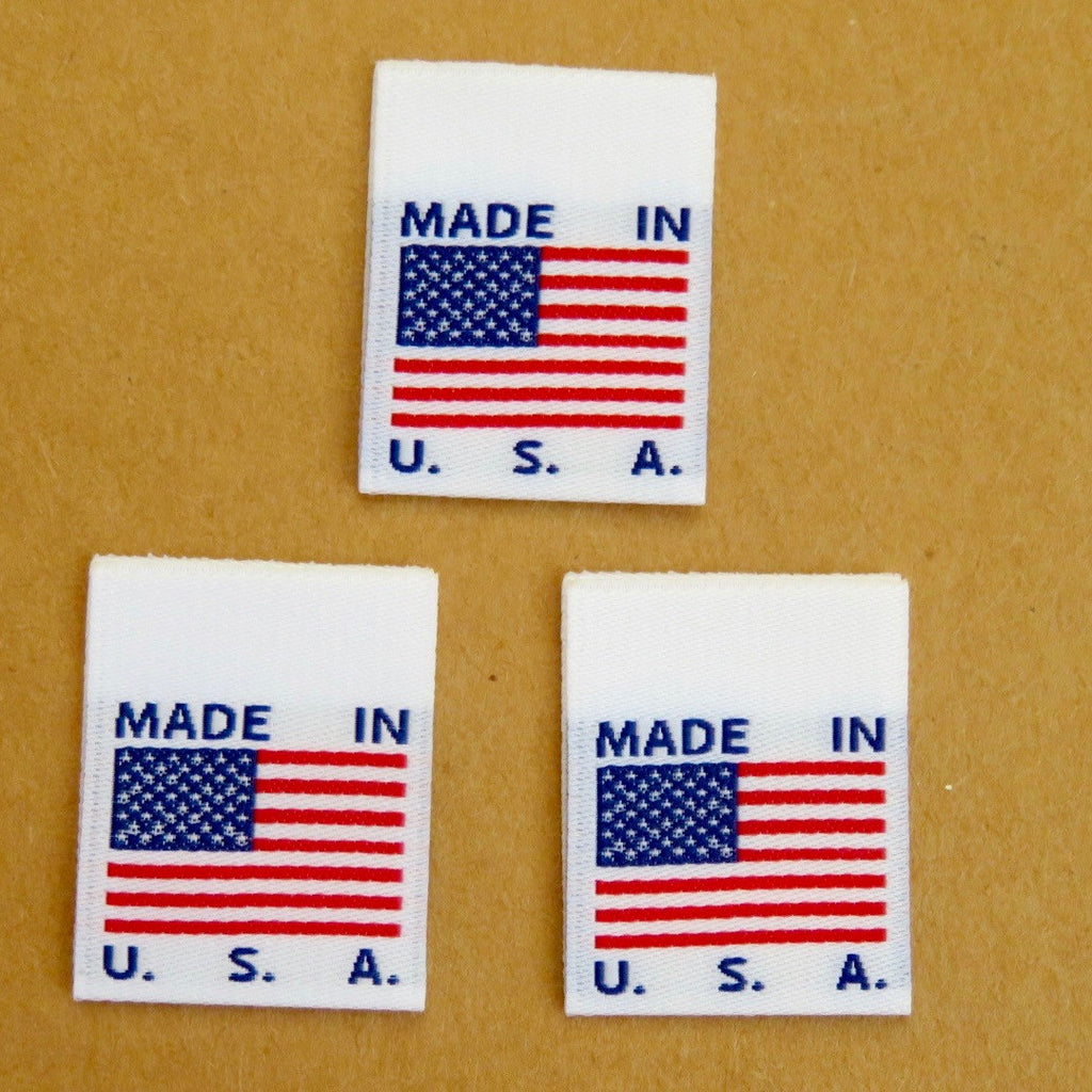 MADE IN USA FLAG Clothing Labels (White)