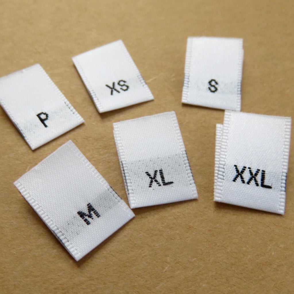 Letter Size Woven Labels (White Satin P, XS-XXL)