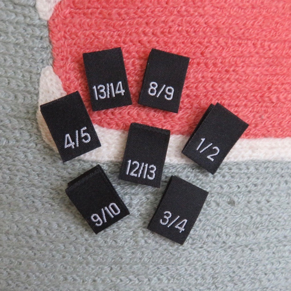 Woven Size Labels - Black Damask 1/2~13/14