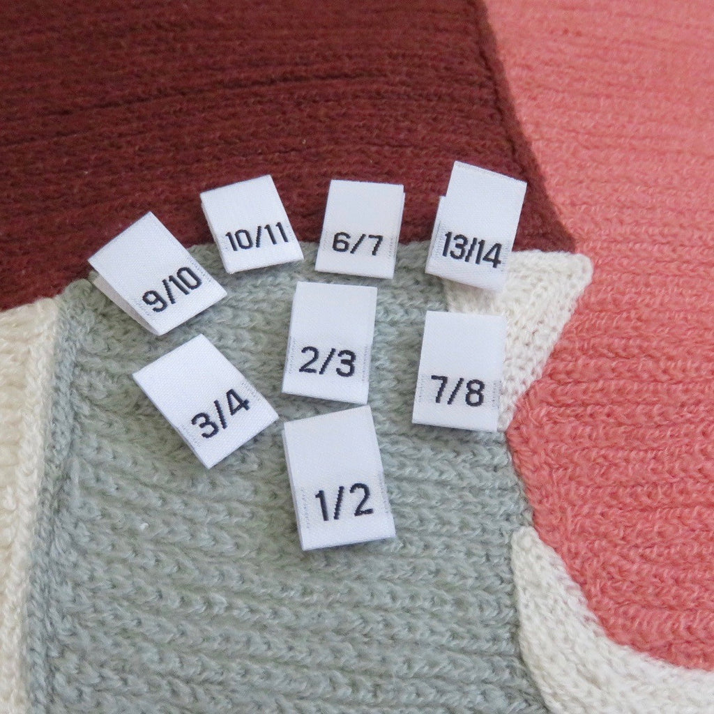 Woven Size Labels - White Damask 1/2~13/14