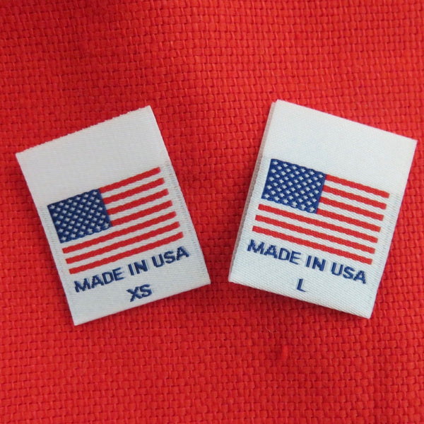 MADE IN USA FLAG Clothing Size Labels (XS-XXL)