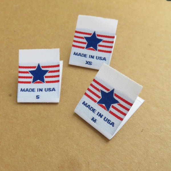 MADE IN USA STAR Clothing Size Labels (XS-XXL)