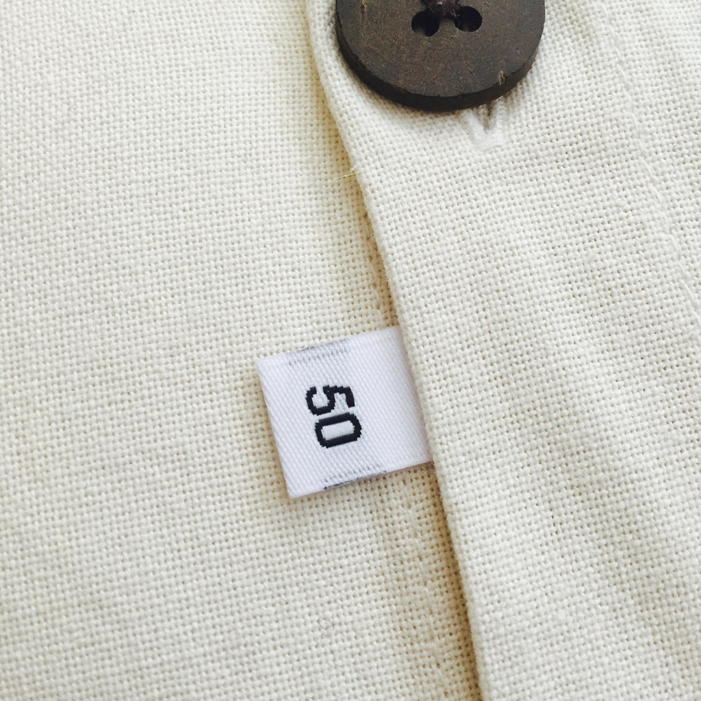 Clothing Size Labels (White Damask 26 to 50)