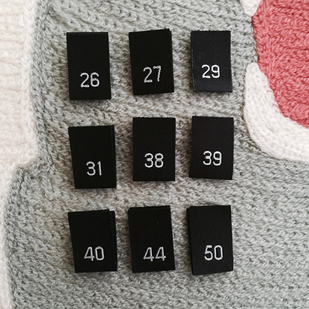 Clothing Size Labels (Black Damask 26 to 50)