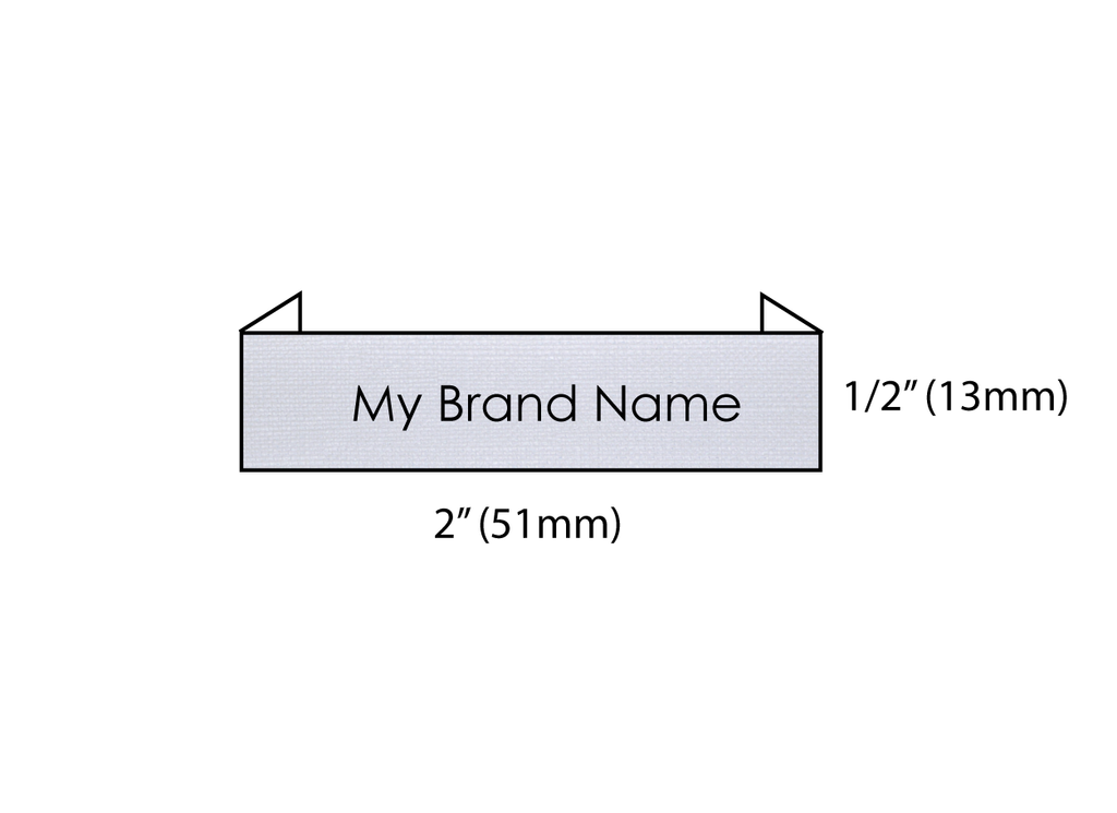 "Custom Text Woven Label (2"" x 0.5"" End Fold)"