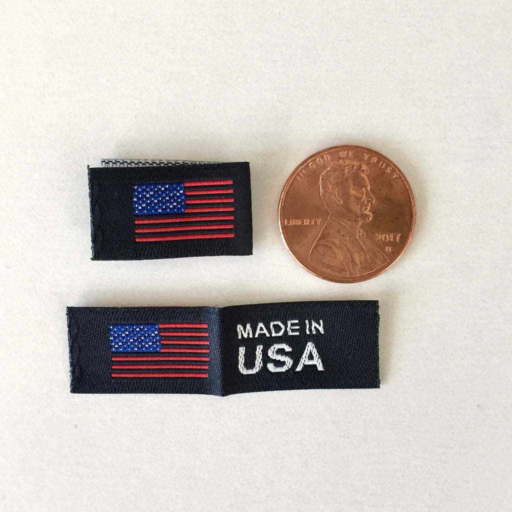 Small Made in USA Flag Woven SIDE Label - Black, Centerfold