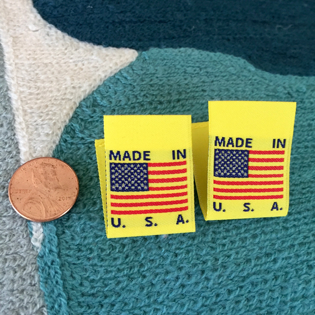 MADE IN USA FLAG Clothing Labels (YELLOW)