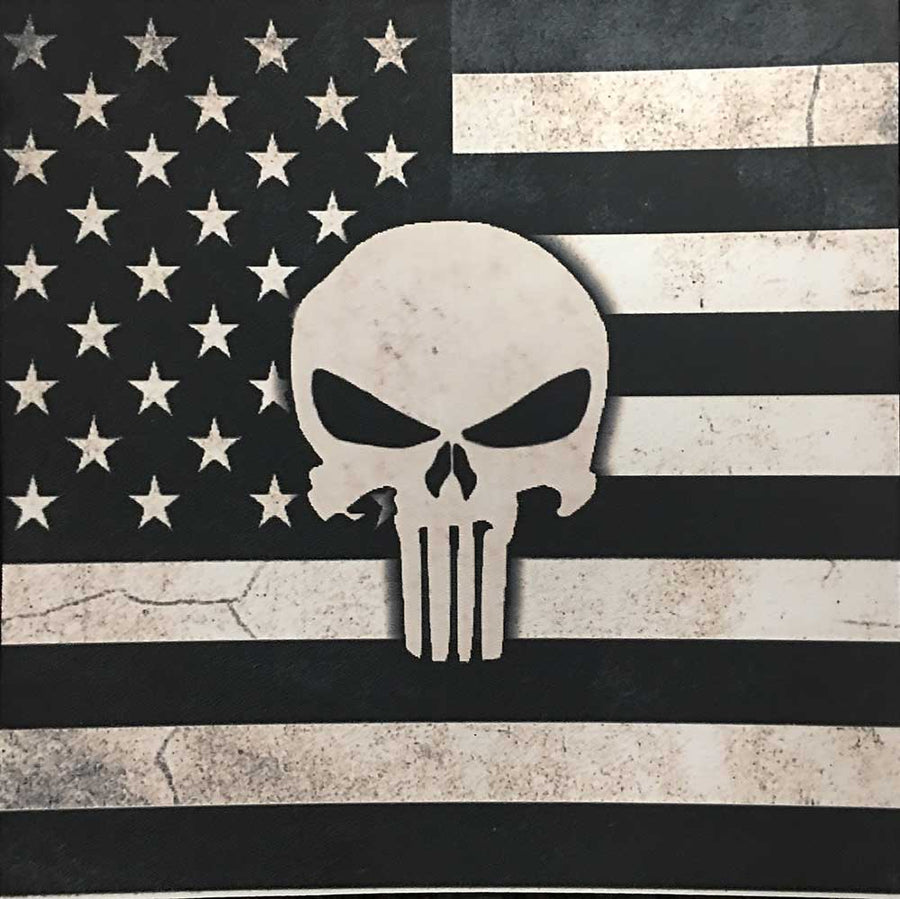 Subdued Punisher on American flag