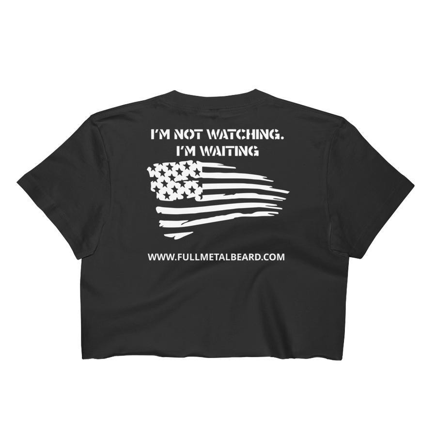 Full Metal Beard Distressed American Flag Women's Crop Top