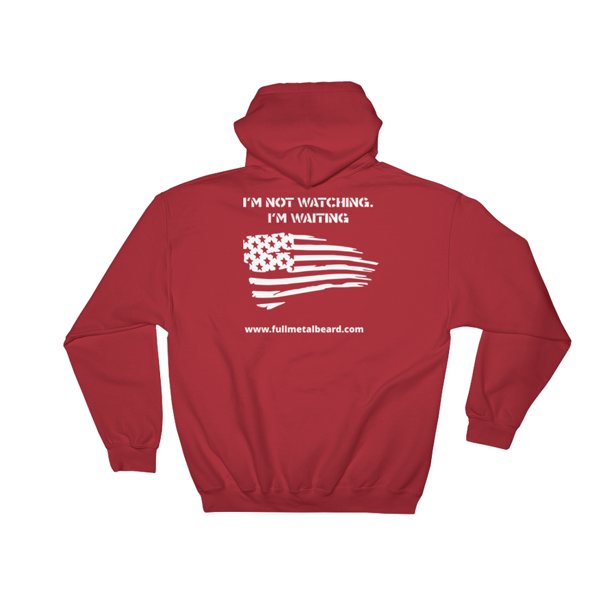 Full Metal Beard Distressed American Flag Hooded Sweatshirt