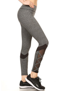 2-Athletic Color Block, Strappy Leggings 7L61 | Dark Heather Grey - Brulla Girl LLC
