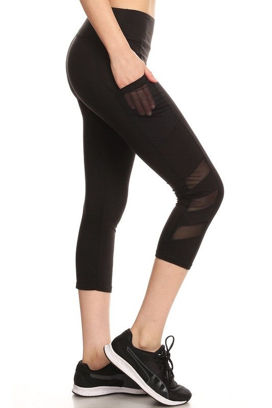 4-Athletic Work-Out Yoga Capri Leggings CP02 | Pockets | Black - Brulla Girl LLC
