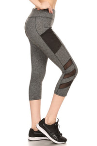 5-Athletic Work-Out Yoga Capri Leggings CP02 | Pockets | Dark Heather Grey - Brulla Girl LLC
