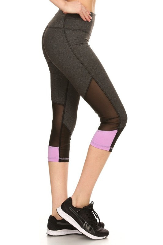 1-Athletic Capri workout Leggings CP03 mesh inserts | Orchid - Brulla Girl LLC