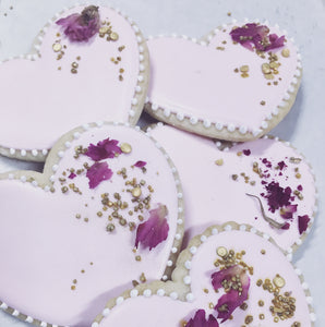 Rose & Gold Heart Cookies