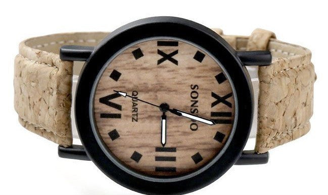Unisex Cork & Wood Bezel Dial Wrist Watch
