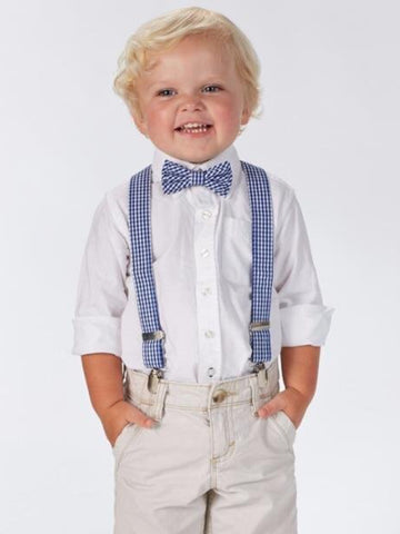 GINGHAM BOW TIE AND SUSPENDER SET