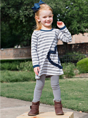 GRAY STRIPE RUFFLED HEART DRESS