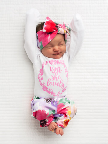 ISN'T SHE LOVELY EMILIA FLORAL NEWBORN OUTFIT