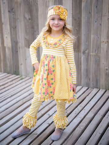 RUFFLED BIB DRESS W/ STRIPED RUFFLE LEGGING