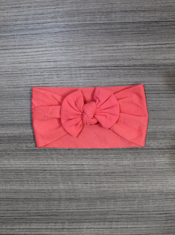 Coral  Nylon Bow Headband