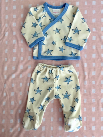 LITTLE STAR SHIRT AND FOOTED PANTS