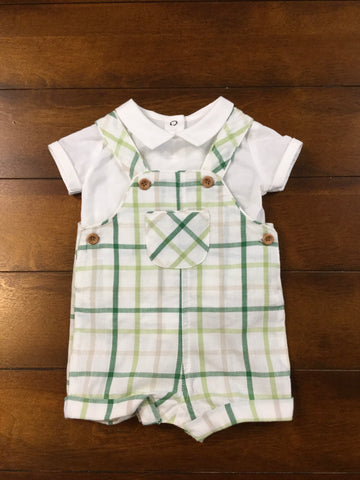 Green Plaid Overall Set