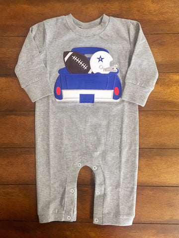 LETS PLAY BALL APPLIQUE BOYS KNIT ROMPER