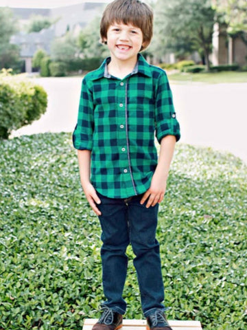 NAVY & EMERALD BUFFALO PLAID BUTTON DOWN