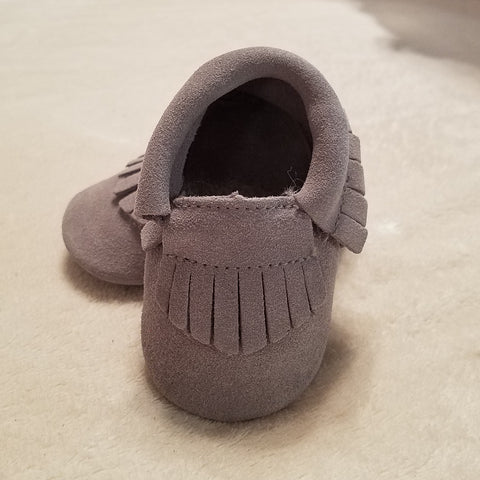 GRAY SUEDE BABY MOCCASINS