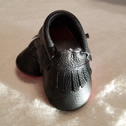 BLACK WITH RED SOLE LEATHER BABY MOCCASINS