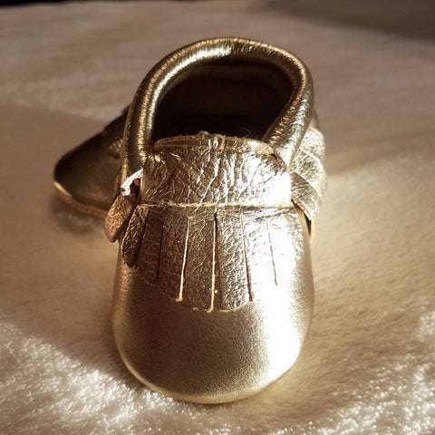 GOLD METALLIC LEATHER BABY MOCCASINS