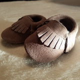 BROWN SUEDE BABY MOCCASINS