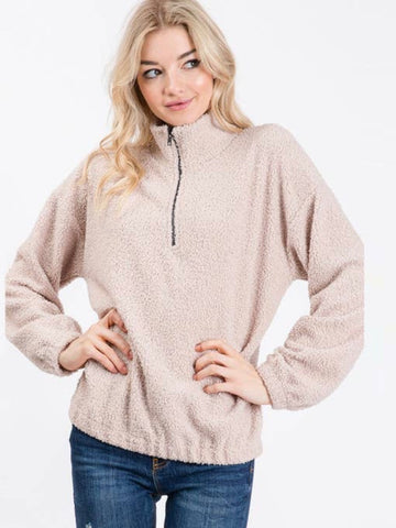 Poodle Half Zip Sweater - Taupe