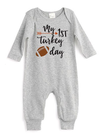 HEATHER GRAY MY FIRST TURKEY DAY PLAYSUIT