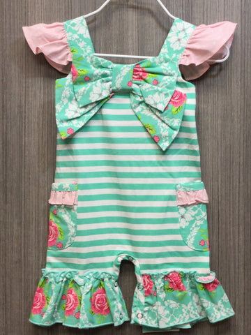 TURQUOISE FLORAL FLUTTER BOW SHORTALL & HAIR ACCESSORY