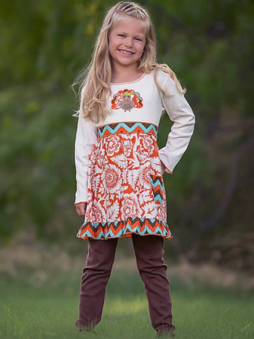 ORANGE FLORAL TURKEY DRESS & LEGGINGS