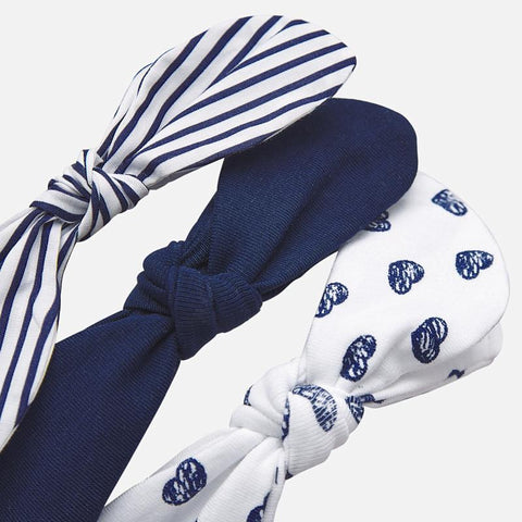 3pc Navy and White Headband Accessories 6M